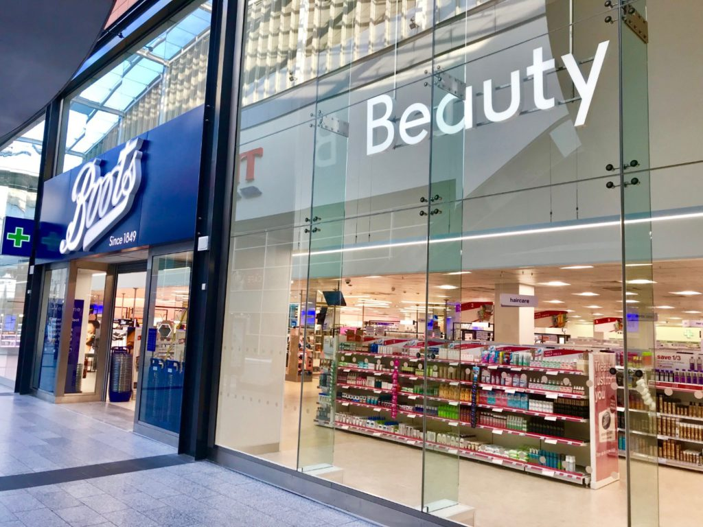 Outside frontage of a typical Boots Beauty and Pharmacy store